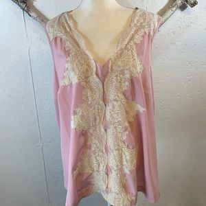 Denim 24/7 pink and lace blouse